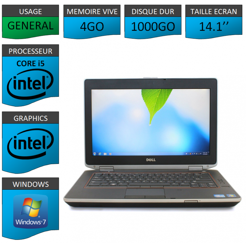 Portable Dell e6420 4Go 1000Go Intel Core i5 4 Coeurs Windows 7 Pro 64 bits HDMI