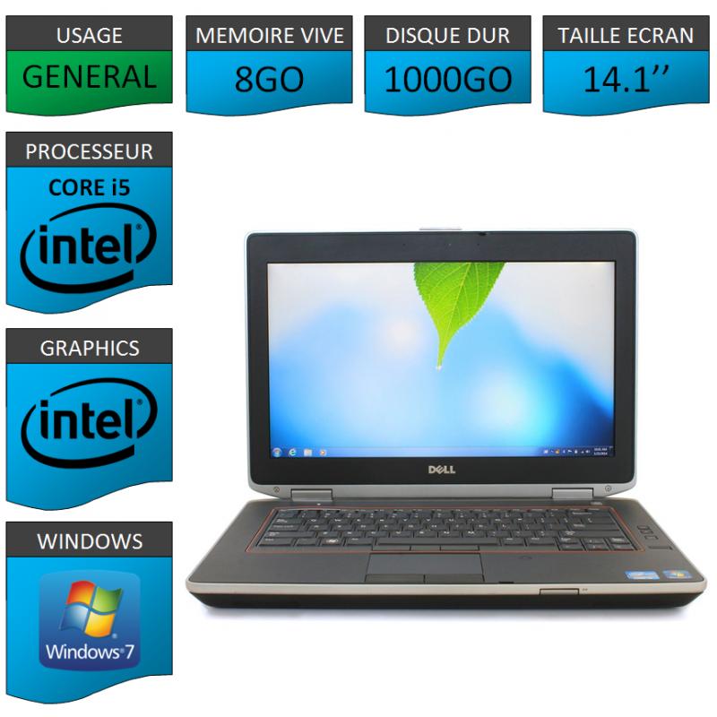 Portable Dell e6420 8Go 1000Go Intel Core i5 4 Coeurs Windows 7 Pro 64 bits HDMI