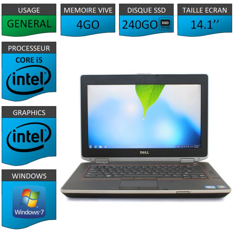Portable Dell e6420 4Go 240SSD Intel Core i5 4 Coeurs Windows 7 Pro 64 bits HDMI