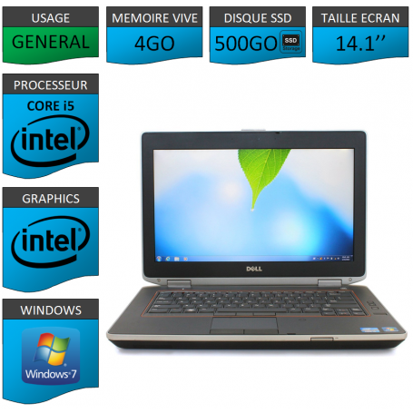 Portable Dell e6420 4Go 500SSD Intel Core i5 4 Coeurs Windows 7 Pro 64 bits HDMI
