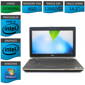Portable Dell e6420 8Go 120SSD Intel Core i5 4 Coeurs Windows 7 Pro 64 bits HDMI