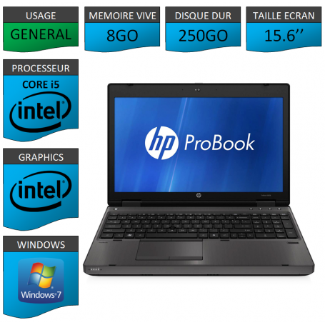 HP Probook 6560b 8Go 250Go Windows 7 Pro Port Serie