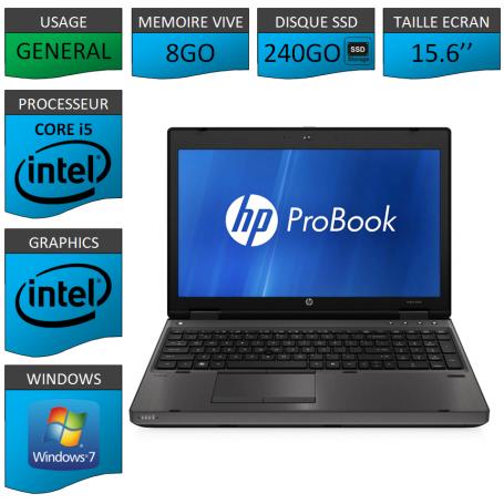 HP Probook 6560b 8Go 240SSD Windows 7 Pro Port Serie