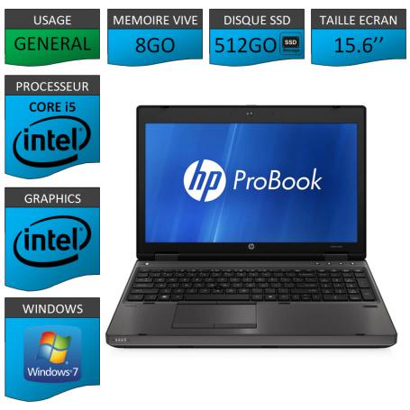 HP Probook 6560b 8Go 525SSD Windows 7 Pro Port Serie