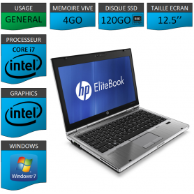Hp elitebook 2560p Intel Core i7 4Go SSD120 Windows 7 Pro 64Bits
