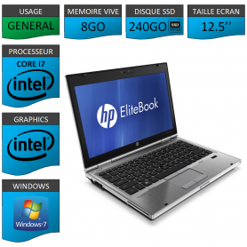 Hp elitebook 2560p Intel Core i7 8Go SSD240 Windows 7 Pro 64Bits