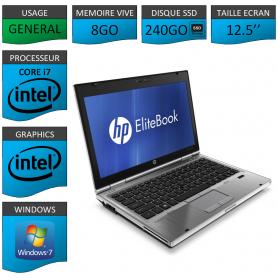 Hp elitebook 2560p Intel Core i7 8Go SSD240 Windows 7 Pro 64Bits