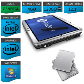 Tablette HP Elitebook 2760p 4Go SSD120 Windows 7 Pro Ecran Tactile