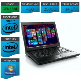 Portable Dell Intel Core i7 4 Coeurs Windows 7 Pro 64 bits