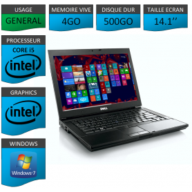 Portable Dell Intel Core i5 4 Coeurs 4Go 500Go Windows 7 Pro 64 bits
