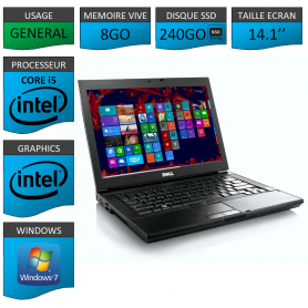 Portable Dell Intel Core i5 4 Coeurs 8Go 240SSD Windows 7 Pro 64 bits
