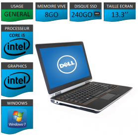 DELL Latitude e6320 8Go SSD240Go Windows 7 Pro Port HDMI