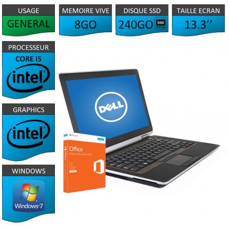 DELL Latitude e6320 8Go SSD240Go Windows 7 Pro Port HDMI OFFICE