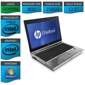 Hp elitebook 2560p Intel Core i5 8Go 250Go Windows 7 Pro 64Bits