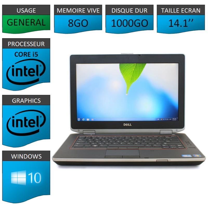 Portable Dell e6420 8Go 1000Go Intel Core i5 4 Coeurs Windows 10 Pro 64 bits HDMI