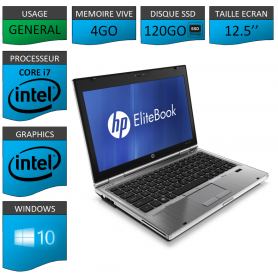 Hp elitebook 2560p Intel Core i7 4Go SSD120 Windows 10 Pro 64Bits