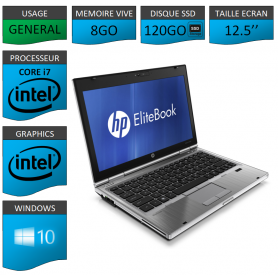 Hp elitebook 2560p Intel Core i7 8Go SSD120 Windows 10 Pro 64Bits