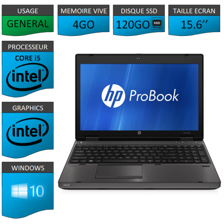 HP Probook 6560b 4Go 120SSD Windows 10 Pro Port Serie