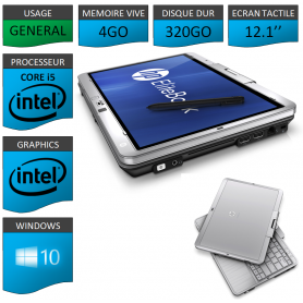 Tablette HP Elitebook 2760p 4Go 320Go Windows 10 Pro Ecran Tactile