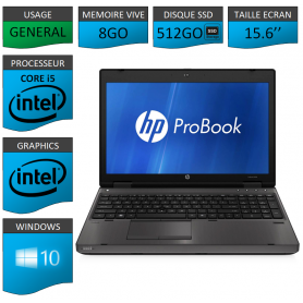 HP Probook 6560b 8Go 512SSD Windows 10 Pro Port Serie
