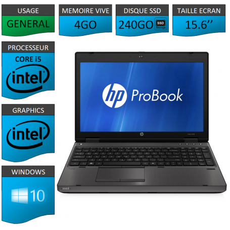 HP Probook 6560b 4Go 240SSD Windows 10 Pro Port Serie