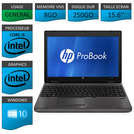 HP Probook 6560b 8Go 250Go Windows 10 Pro Port Serie