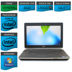 Portable Dell e6420 4Go 120SSD Intel Core i5 4 Coeurs Windows 7 Pro 32 bits HDMI