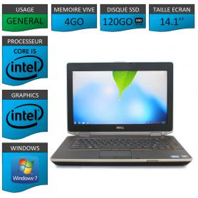 Portable Dell e6420 4Go 120SSD Intel Core i5 4 Coeurs Windows 7 Pro 32 bits HDMI