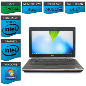 Portable Dell e6420 4Go 240SSD Intel Core i5 4 Coeurs Windows 7 Pro 32 bits HDMI