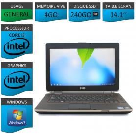 Portable Dell e6420 4Go 240SSD Intel Core i5 4 Coeurs Windows 7 Pro 32 bits HDMI