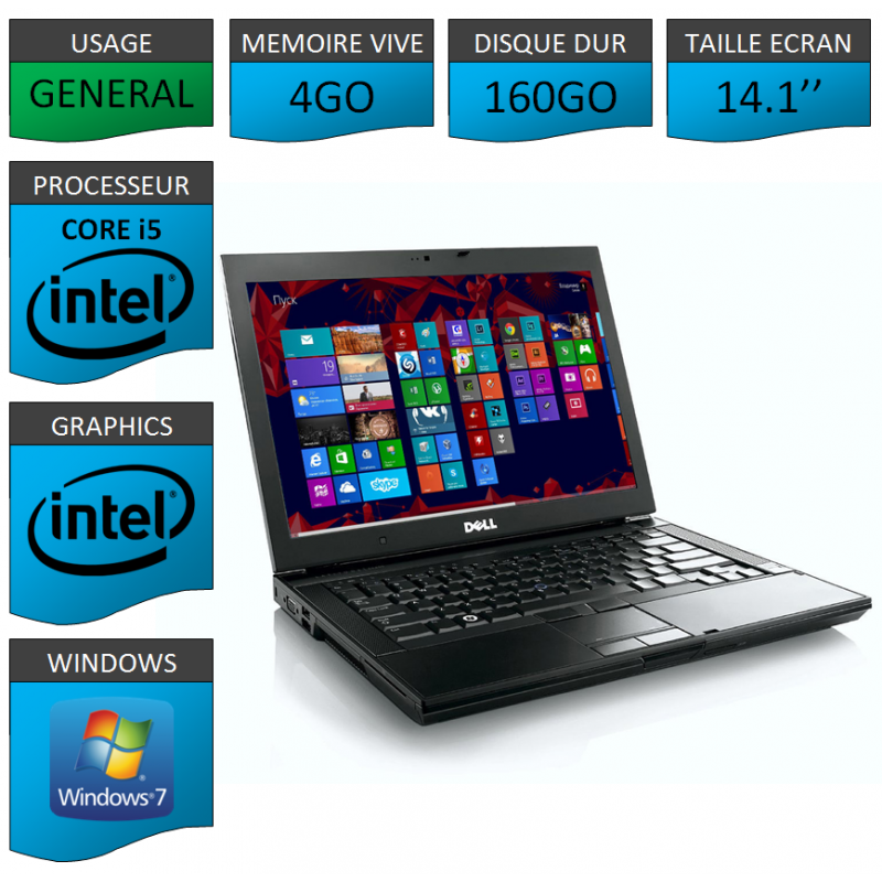 portable dell intel core i5 4 coeurs 4go windows 7 pro 32 bits. Black Bedroom Furniture Sets. Home Design Ideas
