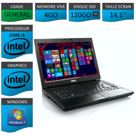 Portable Dell Intel Core i5 4 Coeurs 4Go 120SSD Windows 7 Pro 32 bits