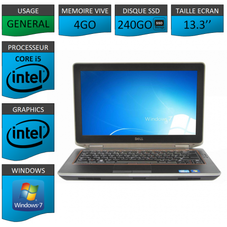 DELL Latitude e6320 4Go SSD240Go Windows 7 Pro 32 Port HDMI