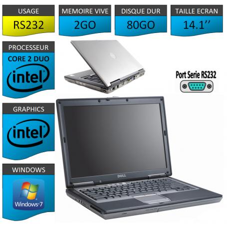 DELL LATITUDE PORT SERIE RS232 NATIF Windows 7 Pro 32Bits - 2Go 80Go