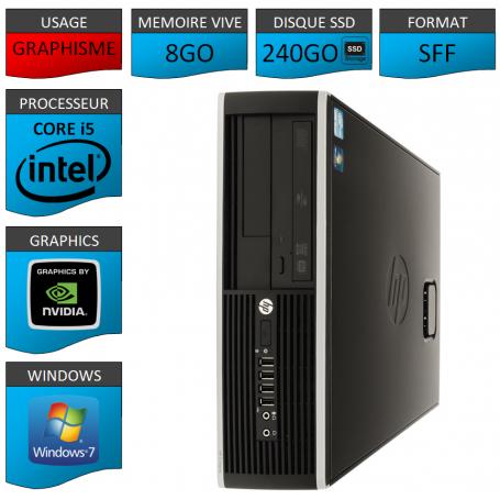 PC HP Core i5 8Go 240Go SSD Windows 7 Pro HDMI