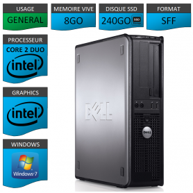 PROMO PC DELL 8GO 240SSD WINDOWS 7 PRO 64 bits