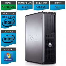 PC DELL OPTIPLEX 4GO 500GO WINDOWS 7 PRO 64 bits