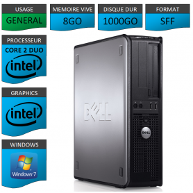 PC DELL OPTIPLEX 8GO 1000GO WINDOWS 7 PRO 64 bits