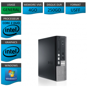 PC DELL USFF 4Go 250Go WINDOWS 7 PRO 64 bits Très Faible Encombrement