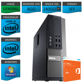 Dell 7010 Core i5 8Go 240SSD Windows 7 Pro et Office Pro 2010