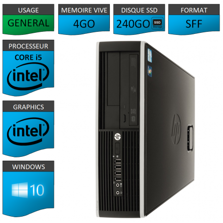 PC HP Core i5 4Go 240 Go SSD Windows 10 Pro