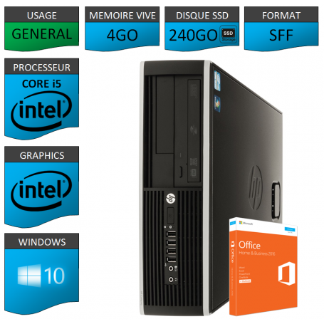 PC HP Core i5 4Go 240Go SSD OFFICE BUSINESS 2010 Windows 10 Pro