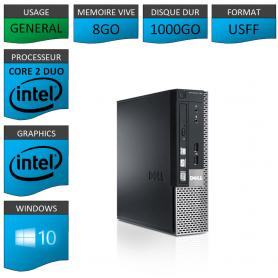 PC DELL USFF 8Go 1000Go WINDOWS 10 PRO 64 bits Très Faible Encombrement