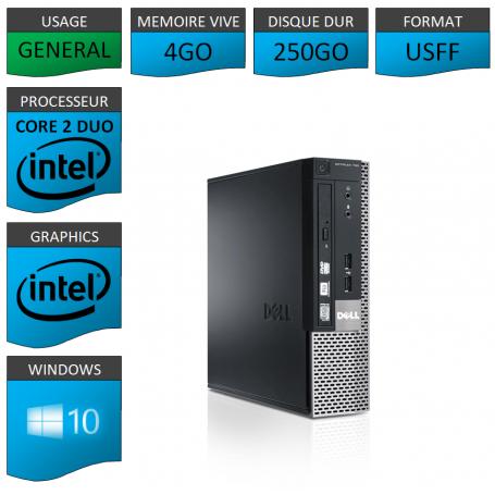 PC DELL USFF 4Go 250Go WINDOWS 10 PRO 64 bits Très Faible Encombrement
