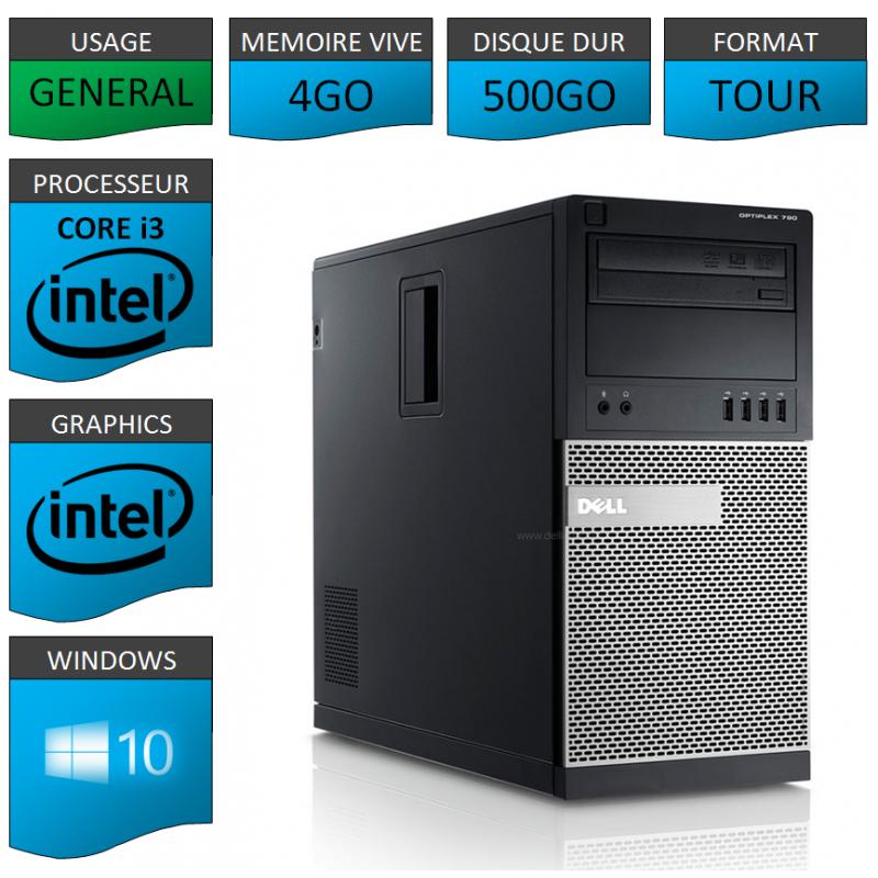 Dell Optiplex 790 Core i3 4go 500Go Windows 10