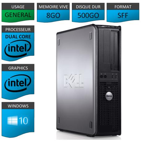 PC DELL OPTIPLEX 8GO 500GO WINDOWS 10 PRO 64 bits
