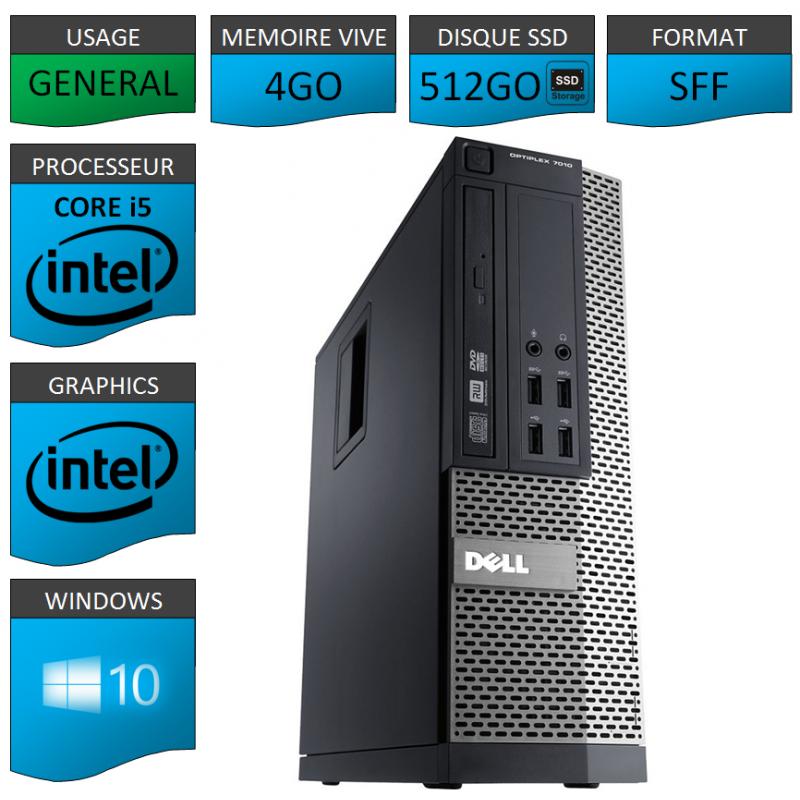 Dell 7010 Core i5 4Go 512SSD Windows 10 Pro