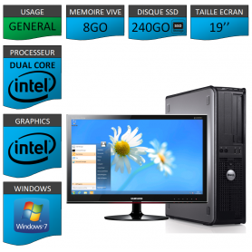 PROMO PC DELL 8GO 240SSD WINDOWS 7 PRO 64 bits Ecran 19