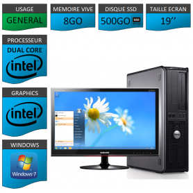 PROMO PC DELL 8GO 500SSD WINDOWS 7 PRO 64 bits Ecran 19