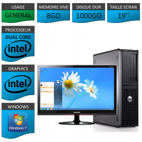 PC DELL OPTIPLEX 8GO 1000GO WINDOWS 7 PRO 64 bits Ecran 19